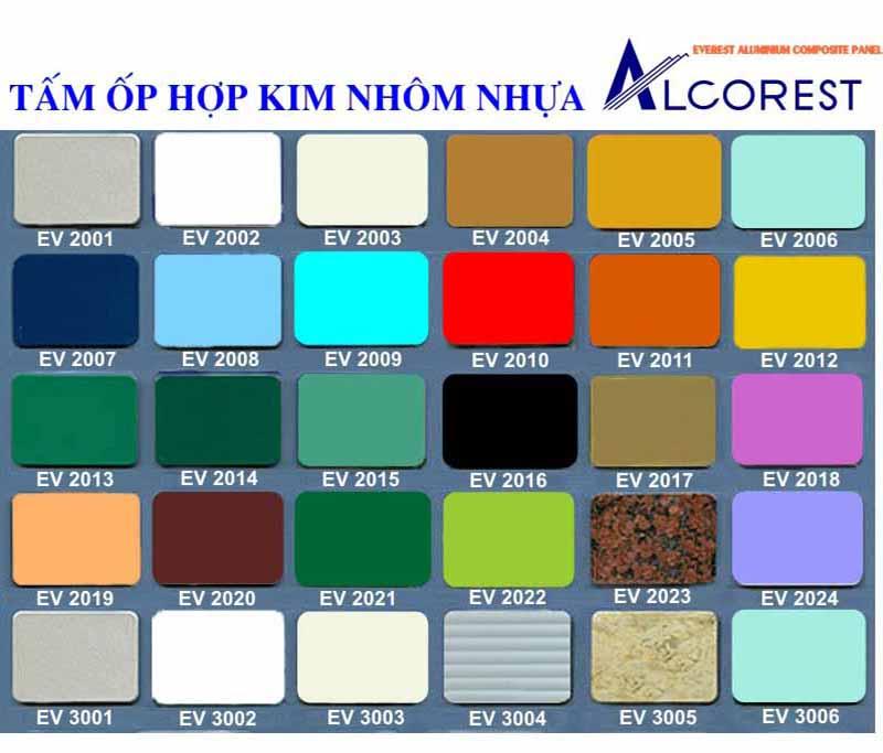 Bảng màu Aluminium thông dụng