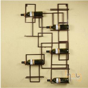 Giá kệ sắt treo tường để rượu thiết kế tao nhã