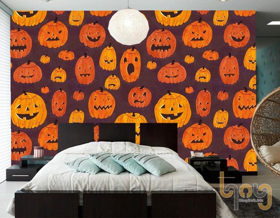 Giấy dán tường bí ngô ma quái cho phòng ngủ