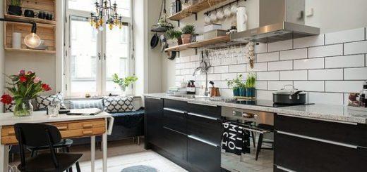 Không gian bếp sạch sẽ, ấm cúng