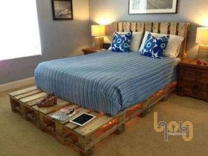 Giường ngủ sang trọng làm từ pallet gỗ